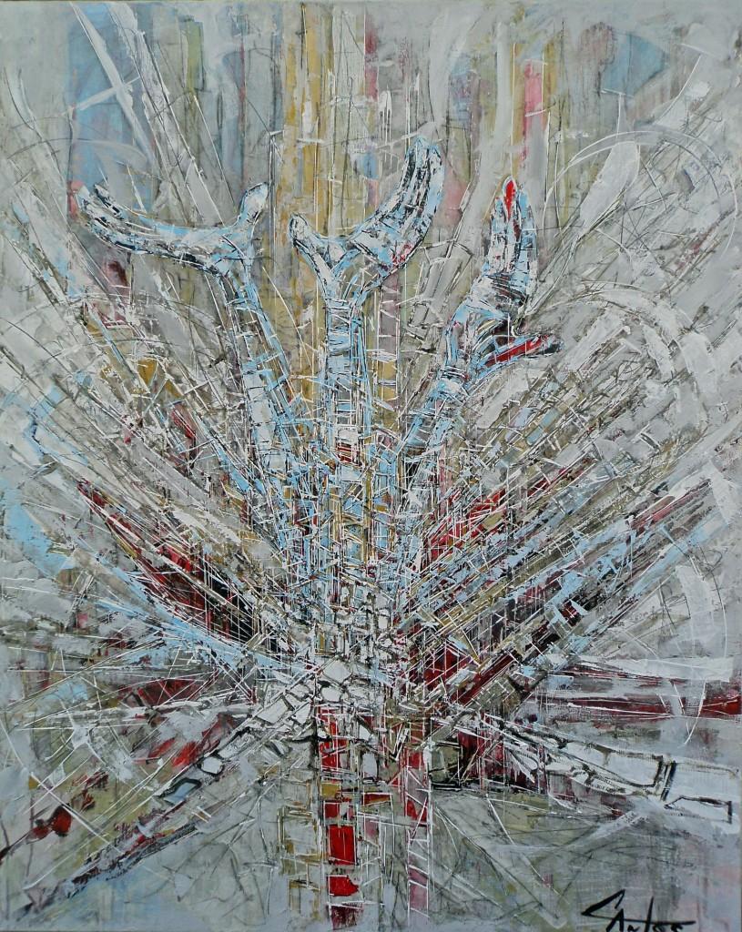 HOMS EN SYRIE AVRIL 2012 (Vue d'un atelier en France en paix) 100X80